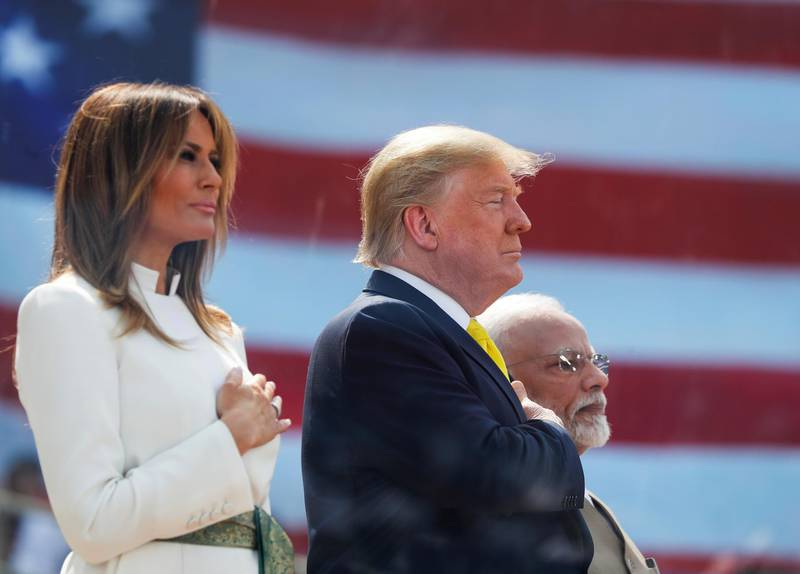 "U.S. President Donald Trump and first lady Melania Trump attend the ""Namaste Trump"" event with Indian Prime Minister Narendra Modi at Sardar Patel Gujarat Stadium, in Ahmedabad, India, February 24, 2020. REUTERS/Al Drago"