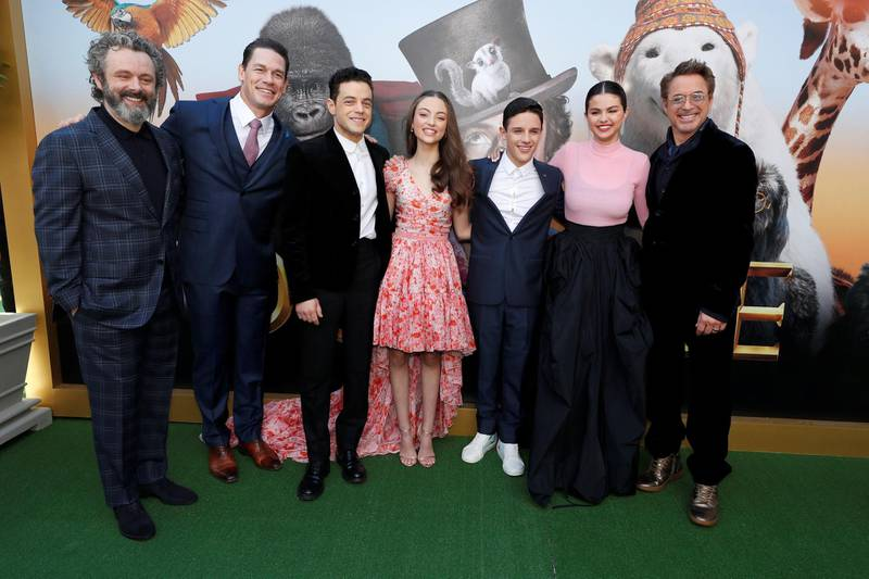 "Cast members (L-R) Michael Sheen, John Cena, Rami Malek, Carmel Laniado, Harry Collett, Selena Gomez and Robert Downey Jr. pose at the premiere for the film ""Dolittle"" in Los Angeles, California, U.S., January 11, 2020. REUTERS/Mario Anzuoni"