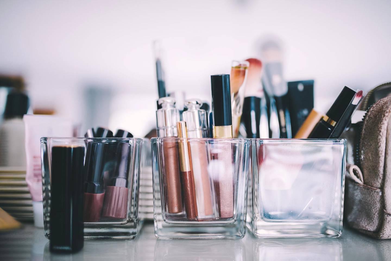close up of makeup in salon