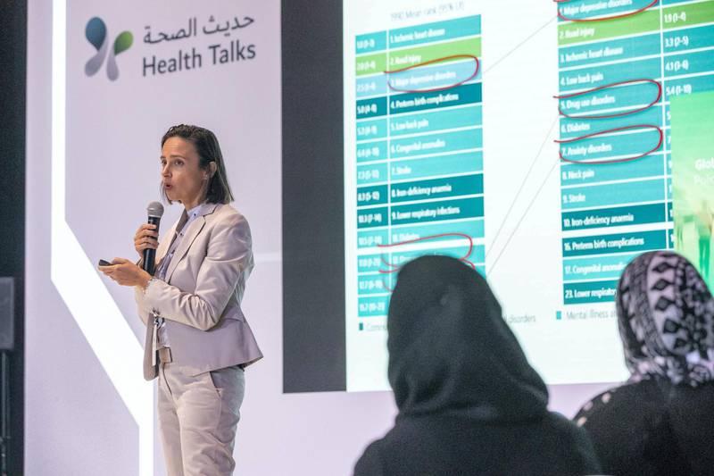DUBAI, UNITED ARAB EMIRATES. 21 JANUARY 2019. Dubai Health Forum held at the Dubai World Trade Center. Nadia Dabbagh (wearing a business suit) and  Farah Aqel (wearing an Abaya) lead a talk on Dubai's Health Strategy. (Photo: Antonie Robertson/The National) Journalist: Nick Webster. Section: National.
