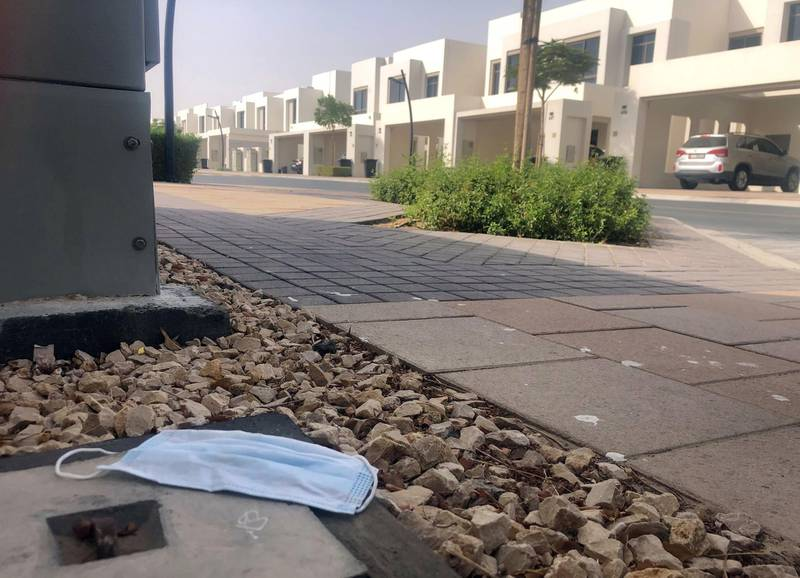 Dubai, United Arab Emirates - Reporter: N/A. News. A discarded face mask in the street. Tuesday, June 30th, 2020. Dubai. Chris Whiteoak / The National