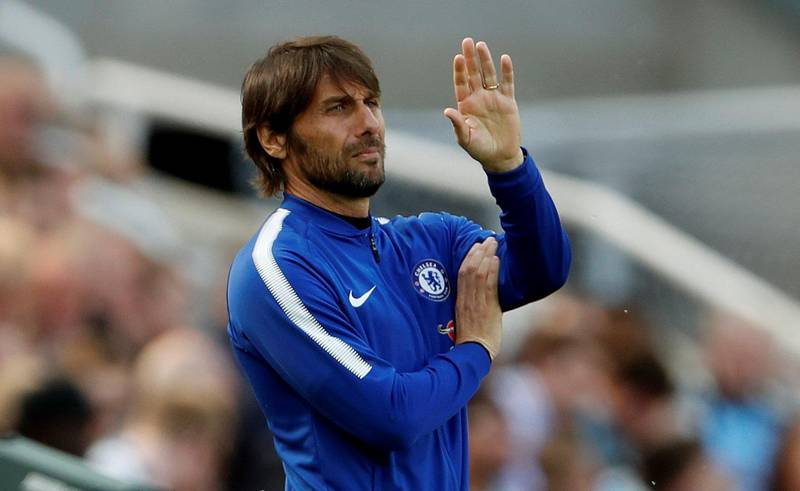 """Soccer Football - Premier League - Newcastle United vs Chelsea - St James' Park, Newcastle, Britain - May 13, 2018   Chelsea manager Antonio Conte gestures   Action Images via Reuters/Lee Smith    EDITORIAL USE ONLY. No use with unauthorized audio, video, data, fixture lists, club/league logos or """"live"""" services. Online in-match use limited to 75 images, no video emulation. No use in betting, games or single club/league/player publications.  Please contact your account representative for further details."""