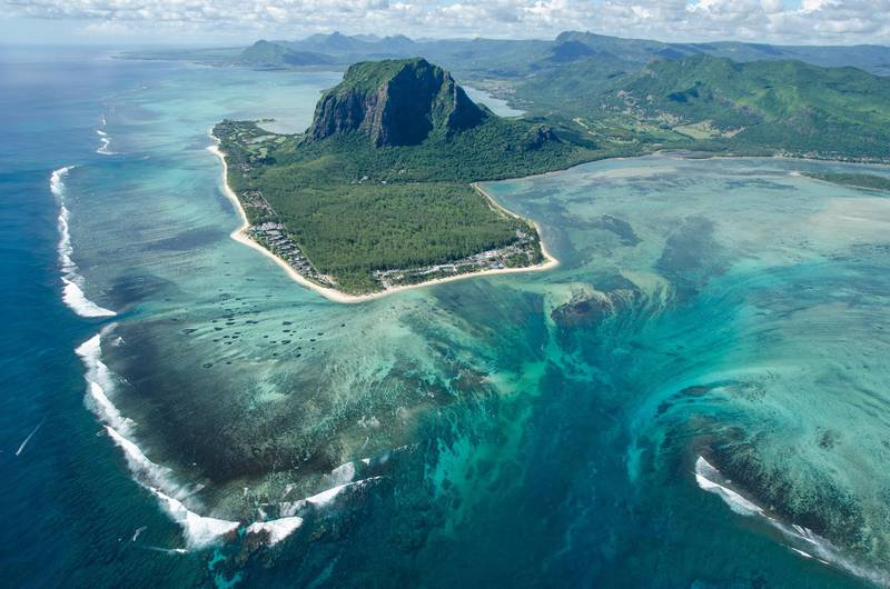 Aerial View Of Sea And Mountains, Petite Case Noyale, Mauritius. Getty Images