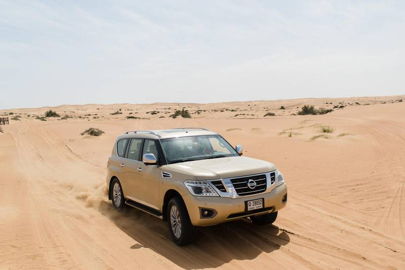 Dubai, UAE. March 2nd 2017. A Nissan patrol demonstrating Nissan's 'camelpower' theory at an event put on for the media at Al Maha resort in Dubai. Alex Atack for The National.  *** Local Caption ***  AA_020317_NissanLaunch-3.jpg