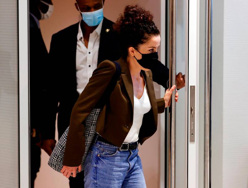Cartoonist Corinne Rey, also known as 'Coco', who appeared as a witness, leaves the courtroom at the Paris courthouse, on September 8, 2020, after a hearing of several witnesses in the trial of 14 suspected accomplices in the Charlie Hebdo, Montrouge and Hyper Cacher jihadist killings.  Fourteen people accused of helping jihadist gunmen attack the French satirical weekly Charlie Hebdo and a Jewish supermarket are on trial, five years after days of terror that sent shockwaves through France. / AFP / Thomas SAMSON