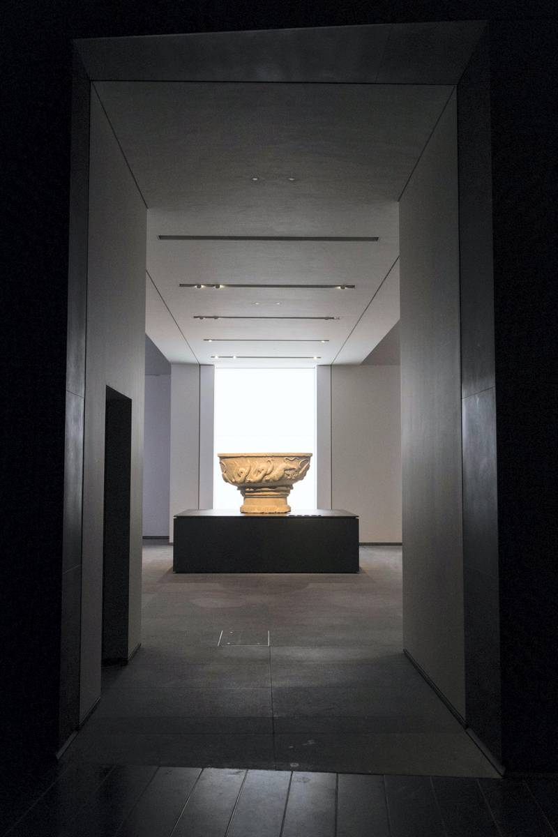 Abu Dhabi, United Arab Emirates, November 6, 2017:     Basin inscribed with the name of Bonifilius  General view of the Louvre Abu Dhabi during the media tour ahead of opening day on Saadiyat Island in Abu Dhabi on November 6, 2017. The Louvre Abu Dhabi will open November 11th. Christopher Pike / The National  Reporter: Mina Aldroubi Section: News