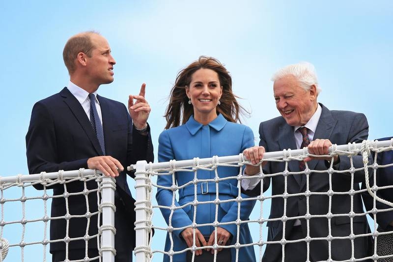 BIRKENHEAD, ENGLAND - SEPTEMBER 26: Prince William, Duke of Cambridge and Catherine, Duchess of Cambridge join Sir David Attenborough as they attend the naming ceremony for the polar research ship the RSS Sir David Attenborough at the Cammell Laird shipyard on September 26, 2019 in Birkenhead, England. (Photo by Peter Byrne-WPA Pool/Getty Images)
