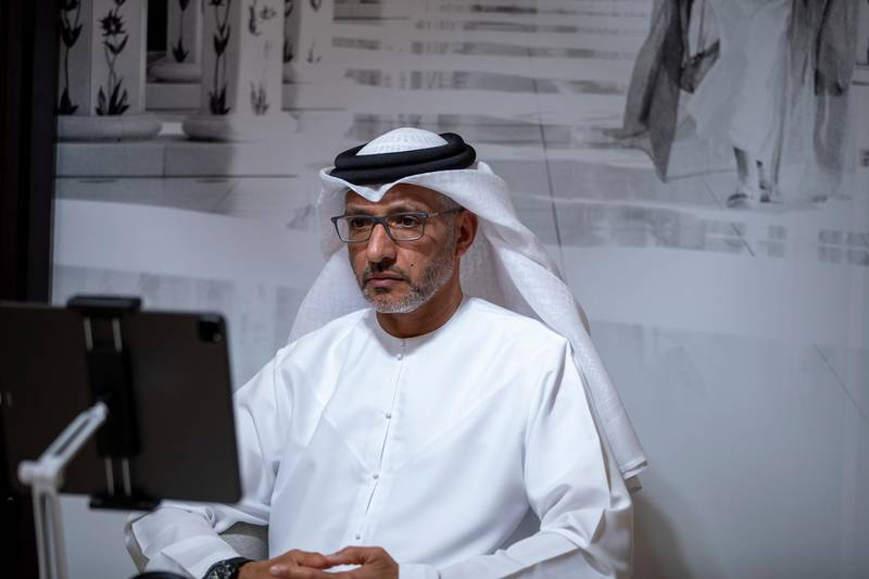 """ABU DHABI, UNITED ARAB EMIRATES - April 19, 2021: HE Yousef Al Obaidli, Director-General of Sheikh Zayed Grand Mosque Center (C), delivers an online lecture titled """"Spirit of a Nation: Community of Many Faiths"""", during the online series of Majlis Mohamed bin Zayed.   ( Abdullah Al Neyadi for the Ministry of Presidential Affairs ) ---"""