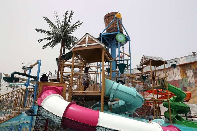 DUBAI , UNITED ARAB EMIRATES , MAY 12 – 2018 :- View of the Laguna Waterpark in La Mer in Dubai.  ( Pawan Singh / The National )  For News/ Big Picture / Weekend. Story by Salam Al Amir