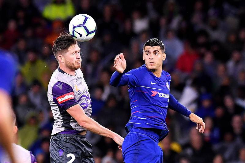 PERTH, AUSTRALIA - JULY 23: Alex Grant of Perth Glory and Alvaro Morata of Chelsea compete for the ball during the international friendly between Chelsea FC and Perth Glory at Optus Stadium on July 23, 2018 in Perth, Australia.  (Photo by Albert Perez/Getty Images)