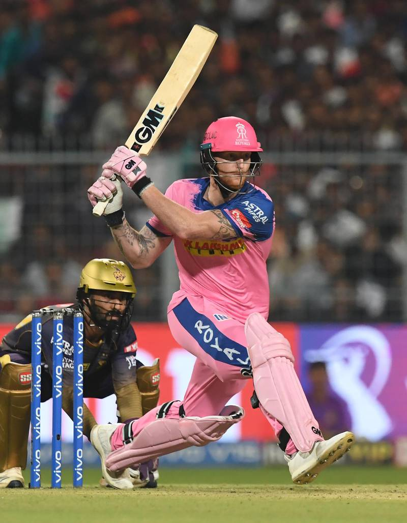 Rajasthan Royals' Ben Stokes plays a shot during the 2019 Indian Premier League (IPL) Twenty 20 cricket match between Kolkata Knight Riders and Rajasthan Royals at the Eden Gardens Cricket Stadium, in Kolkata, on April 25, 2019. (Photo by DIBYANGSHU SARKAR / AFP) / IMAGE RESTRICTED TO EDITORIAL USE - STRICTLY NO COMMERCIAL USE