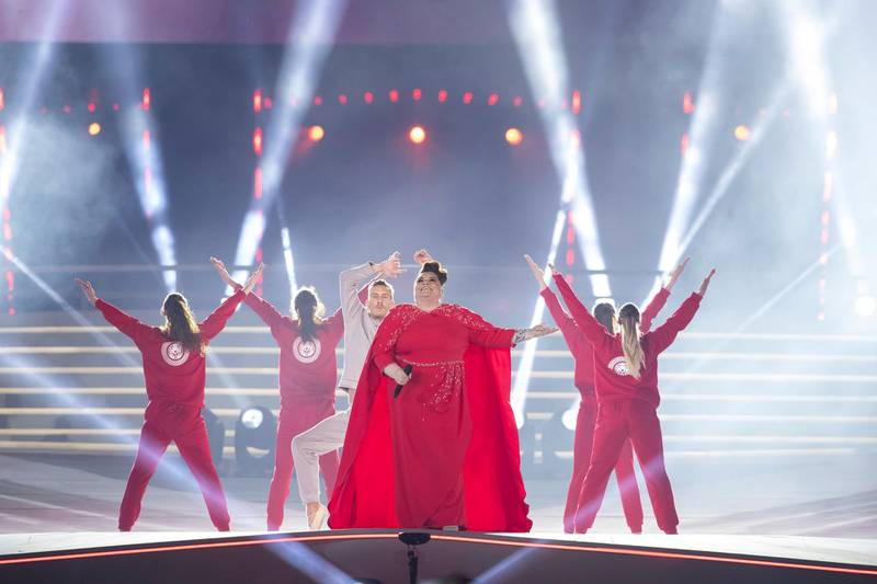 ABU DHABI, UNITED ARAB EMIRATES - March 21, 2019: Performers participate in the closing ceremony of the Special Olympics World Games Abu Dhabi 2019, at Zayed Sports City.  ( Ryan Carter for the Ministry of Presidential Affairs ) ---