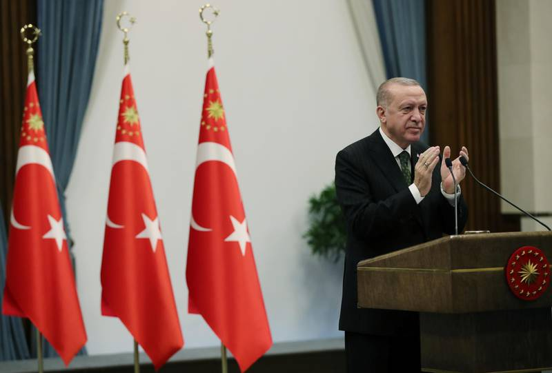 Turkish President Tayyip Erdogan attends a ceremony via video link?in Ankara, Turkey, December 16, 2020. Presidential Press Office/Handout via REUTERS ATTENTION EDITORS - THIS PICTURE WAS PROVIDED BY A THIRD PARTY. NO RESALES. NO ARCHIVE.