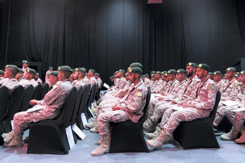 ABU DHABI, UNITED ARAB EMIRATES - OCTOBER 08, 2018.   Military service students at the assembly hall of Mohammed Bin Zayed Council for Future Generations sessions, held at ADNEC.    (Photo by Reem Mohammed/The National)  Reporter: SHIREENA AL NUWAIS + ANAM RIZVI Section:  NA