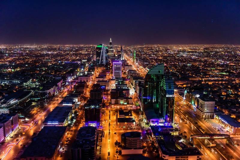 Streets in illuminated cityscape, Riyadh, Saudi Arabia