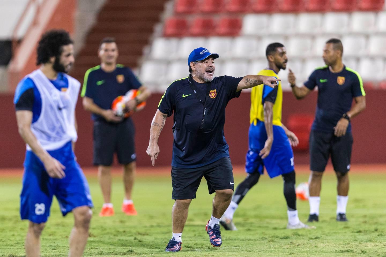 Fujairah, United Arab Emirates, July 25, 2017:    Diego Maradona, head coach of Fujairah football club, leads a training session ahead of the UAE first division season at the Fujairah stadium in Fujairah on July 25, 2017. Christopher Pike / The National  Reporter: John McAuley Section: Sport