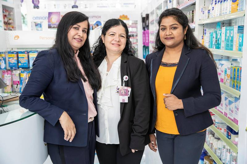 DUBAI, UNITED ARAB EMIRATES. 23 MAY 2018. Aster Medical Groups leadership program.LtoR: Ciba Sunil Raphael, Asma Agha, Neethu Trampi. (Photo: Antonie Robertson/The National) Journalist: Gillian Duncan. Section: Business.