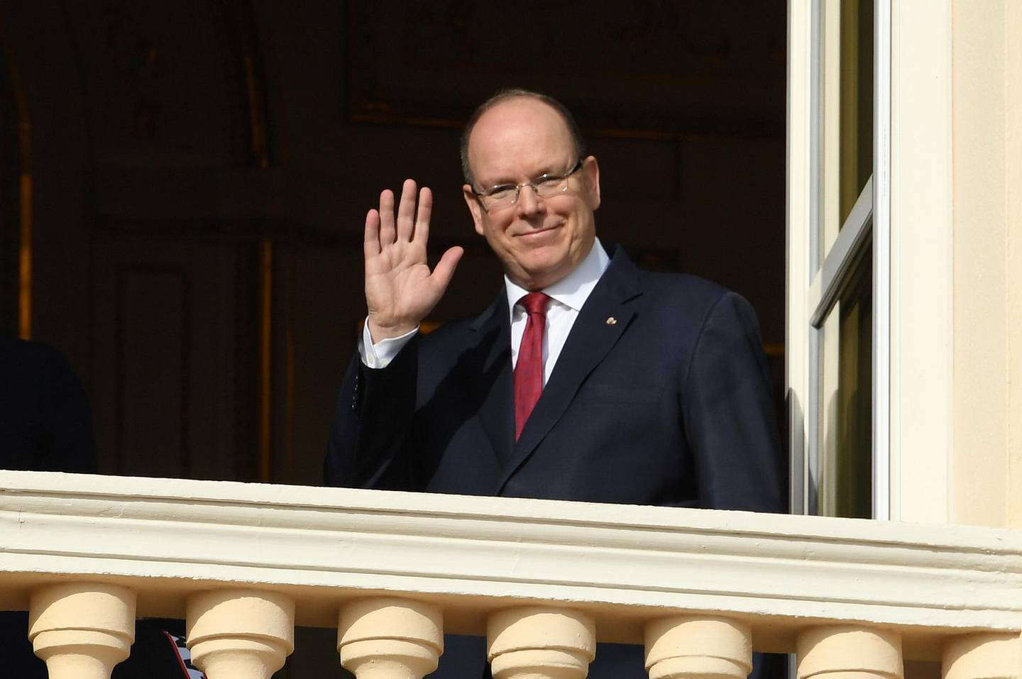 FILE: 19 MARCH, 2020: Prince Albert of Monaco has tested positive for coronavirus (COVID-19) on March 19, 2020 in Monte Carlo, Monaco. MONACO, MONACO - JANUARY 27: Prince Albert II of Monaco greets the crowd from the palace balcony during the Sainte Devote Ceremony. Sainte devote is the patron saint of The Principality Of Monaco and France's Mediterranean Corsica island. on January 27, 2020 in Monaco, Monaco. (Photo by Pascal Le Segretain/Getty Images)