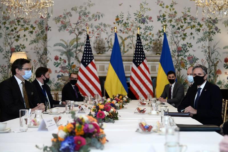 U.S. Secretary of State Antony Blinken meets with Ukrainian Foreign Minister Dmytro Kuleba in Brussels, Belgium April 13, 2021. REUTERS/Johanna Geron/Pool