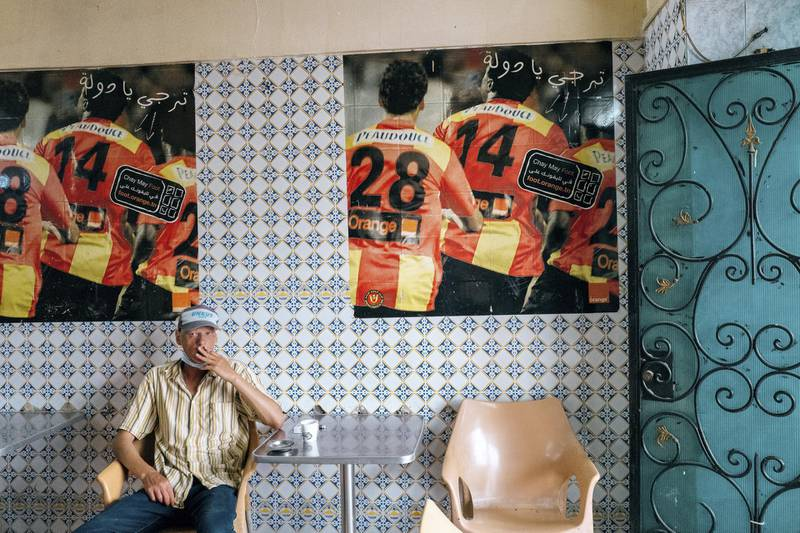 Nearly every cafe in Bab Souika is filled with Esperance memorabilia and posters. Erin Clare Brown/ The National