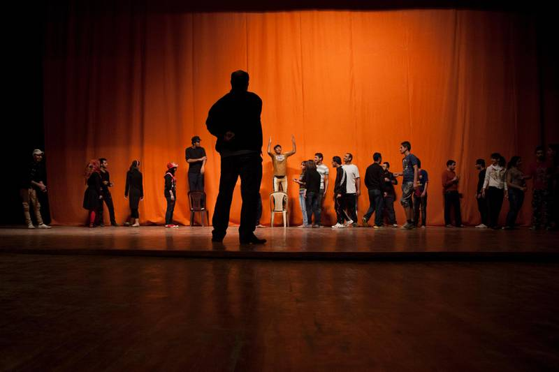 BAGHDAD, IRAQ: Drama students rehearse at the National Theatre in Baghdad.Qassim Zeidan is directing a play with drama students at the Iraqi National Theatre about the resilience of Baghdad.Photo by Ali Arkady/Metrography