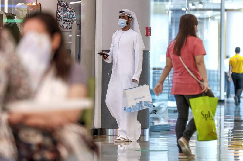 Abu Dhabi, United Arab Emirates, August 2, 2020.   Eid shoppers maintain social distancing at Al Wahda Mall on the last day of Eid Al Adha. Victor Besa /The NationalSection: NAFor:  Standalone/Stock Images