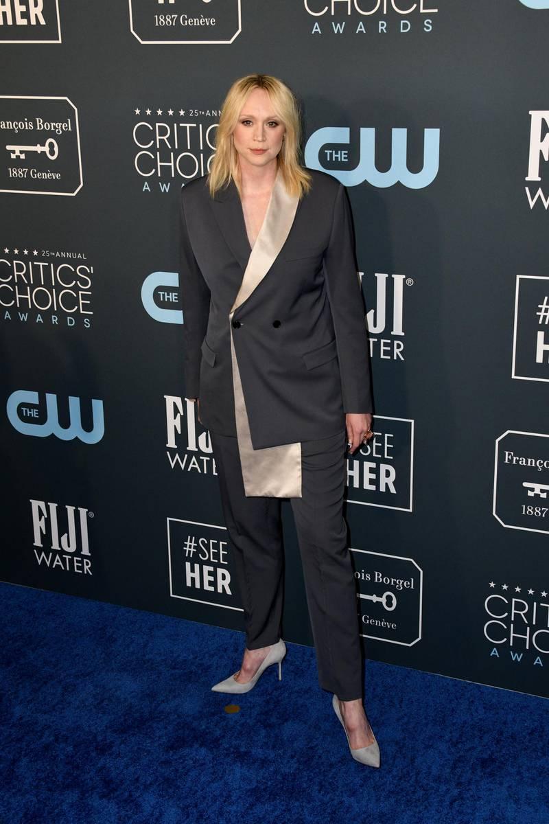 epa08123883 British actress Gwendoline Christie attends the 25th Critics' Choice Awards in Santa Monica, California, USA, 12 January 2020.  EPA-EFE/CHRISTIAN MONTERROSA