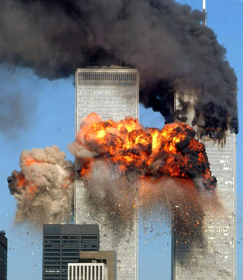 NEW YORK - SEPTEMBER 11: Hijacked United Airlines Flight 175 from Boston crashes into the south tower of the World Trade Center and explodes at 9:03 a.m. on September 11, 2001 in New York City. The crash of two airliners hijacked by terrorists loyal to al Qaeda leader Osama bin Laden and subsequent collapse of the twin towers killed some 2,800 people.   Spencer Platt/Getty Images/AFP