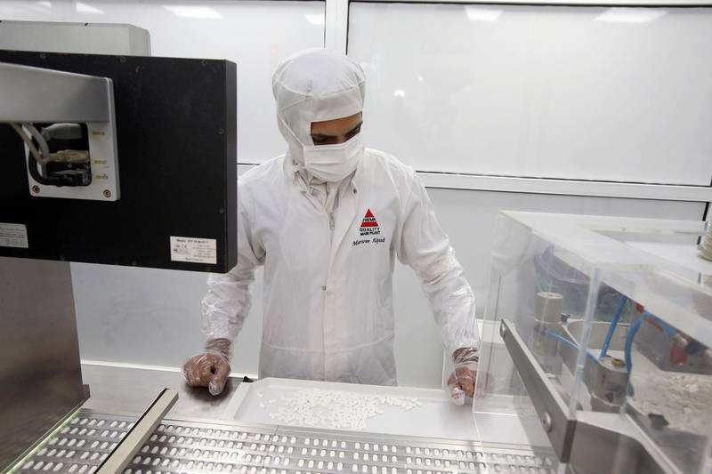 A Photo shows a part of developing and manufacturing pharmaceutical products at the labs of Hikma in Amman, Jordan. Hikma Pharmaceuticals is a fast growing multinational pharmaceutical group which was founded in 1978 in Jordan.  (Salah Malkawi for The National) *** Local Caption ***  SM_Hikma_078.jpg