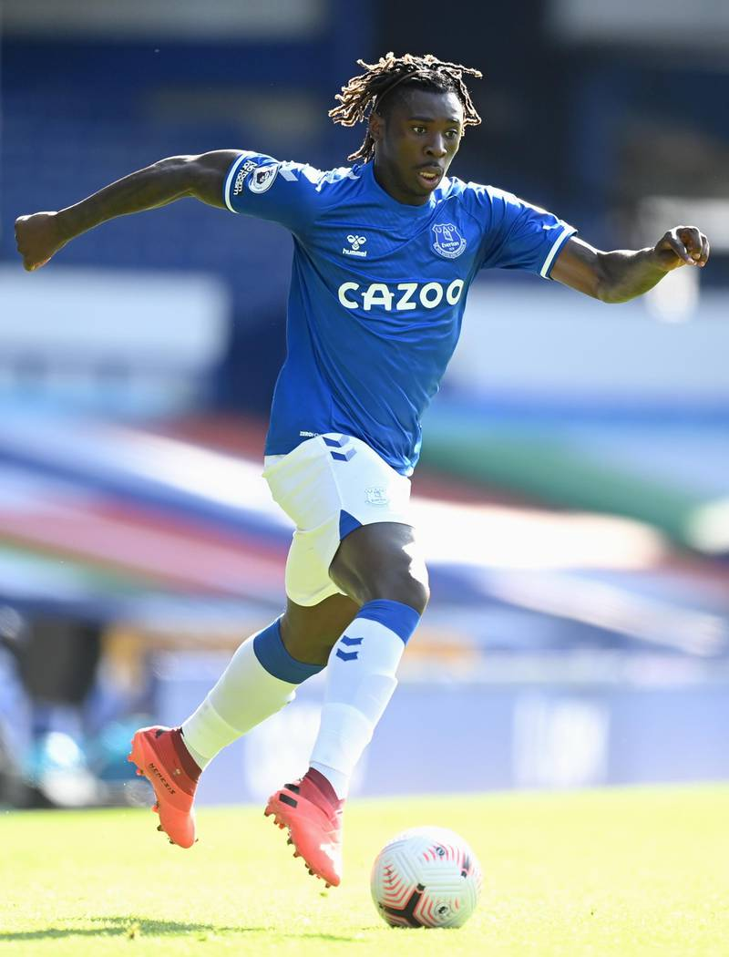 LIVERPOOL, ENGLAND - SEPTEMBER 19: Moise Kean of Everton runs with the ball during the Premier League match between Everton and West Bromwich Albion at Goodison Park on September 19, 2020 in Liverpool, England. (Photo by Michael Regan/Getty Images)