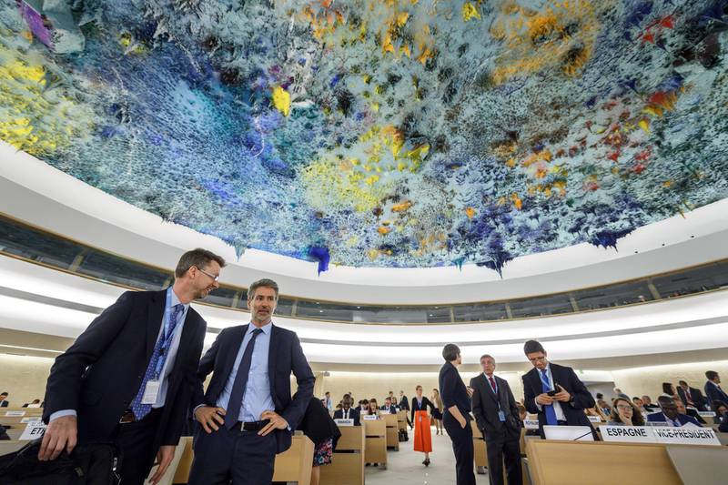 """Delegates gather prior to the opening of a special session of the United Nations (UN) Human Rights Council to discuss """"the deteriorating human rights situation"""" in the Palestinian Territories, after Israeli forces killed 60 Palestinians, on May 18, 2018 in Geneva. The UN Human Rights Council will meet on May 18,2018 to decide whether to send international war crimes investigators to probe the deadly shootings of Gaza protesters by Israeli forces.The special session of the UN's top rights body will consider a draft resolution calling for the council to """"urgently dispatch an independent, international commission of inquiry"""", the UN's highest level investigation.  -   / AFP / Fabrice COFFRINI"""