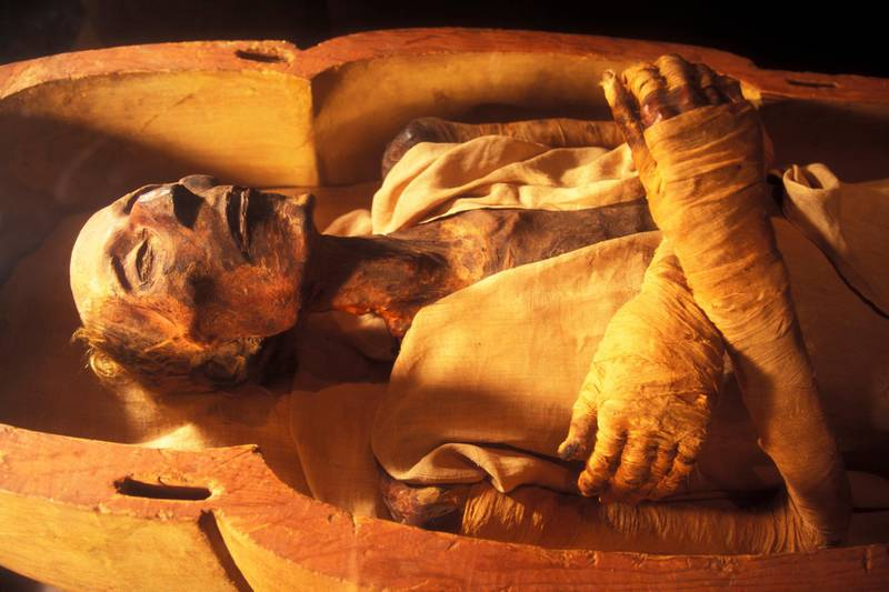CAIRO, EGYPT - APRIL 2006:  The mummy of Ramses II (1301-1235 BC), son of Sethy I, in April 2006, at Cairo Museum, Egypt. The mummy was discovered with the other royal mummies in the Deir el Bahari hiding place by Maspero, Ahmed Bey Kamal and Brugsch Bey. (Photo by Patrick Landmann/Getty Images)