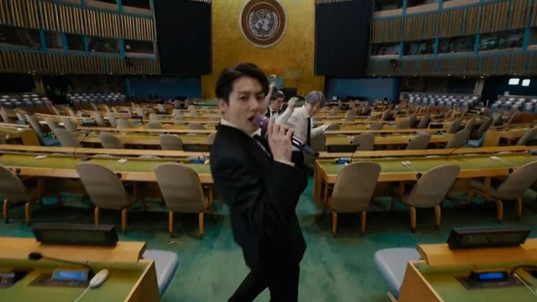 An image that illustrates this article K-pop stars BTS perform at UN General Assembly