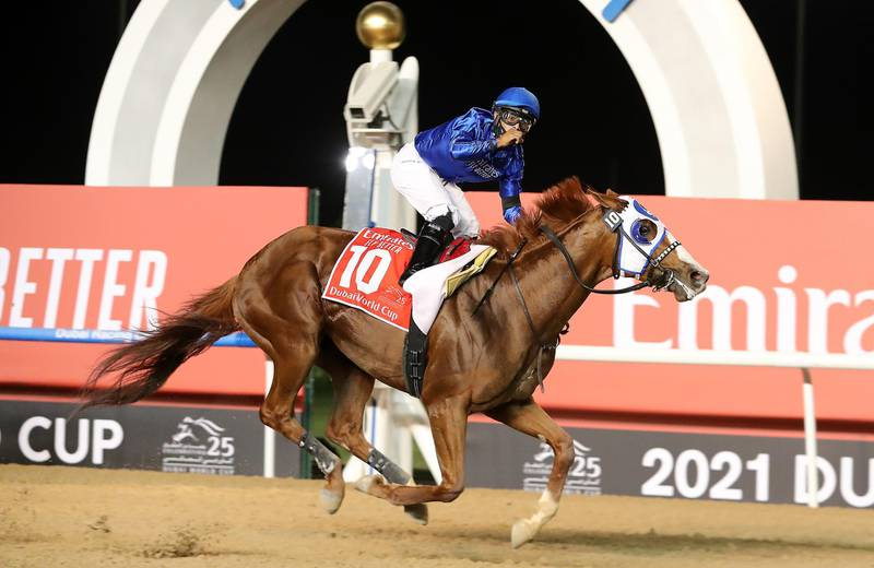 DUBAI , UNITED ARAB EMIRATES , MARCH 27  – 2021 :- MYSTIC GUIDE  (USA ) ridden by LUIS SAEZ  ( no 10  ) won the 9th horse race  Dubai World Cup 2000m Dirt  during the Dubai World Cup held at Meydan Racecourse in Dubai. ( Pawan Singh / The National ) For News/Sports/Instagram/Big Picture. Story by Amith