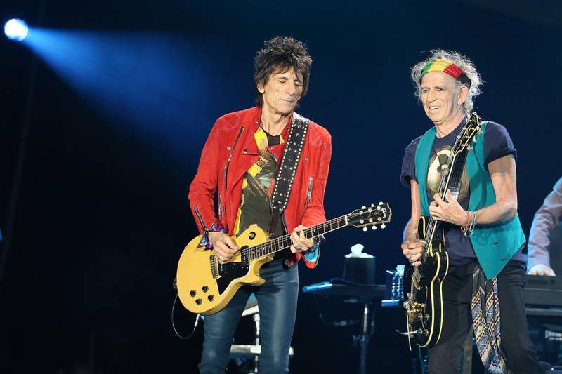 AUCKLAND, NEW ZEALAND - NOVEMBER 22:  Ronnie Wood (L) and Keith Richards (R) on guitar as The Rolling Stones perform live at Mt Smart Stadium on November 22, 2014 in Auckland, New Zealand.  (Photo by Fiona Goodall/Getty Images)