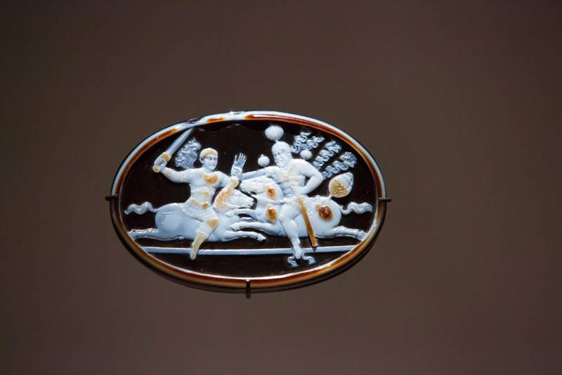 Abu Dhabi, United Arab Emirates- Cameo of Shapur and Valerian at Furusiyya The Art of Chivalry between East and West, which draws links between knightly traditions of Europe and the Middle East at Louvre Abu Dhabi.  Leslie Pableo for The National