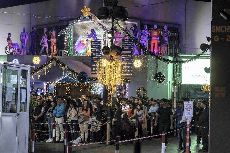 DUBAI, UNITED ARAB EMIRATES. 25 DECEMBER 2019. Midnight Mass at St Mary's in Dubai to celebrate Christmas. (Photo: Antonie Robertson/The National) Journalist: None. Section: National.