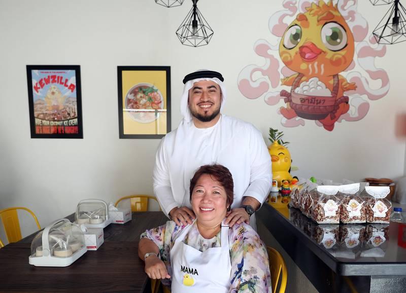Dubai, United Arab Emirates - August 17, 2019: Mother and son duo open Thai restaurant: Mohamed Abedin, Emirati, and his Thai mother, Amena Rakkuson. Saturday the 17th of August 2019. JVC, Dubai. Chris Whiteoak / The National