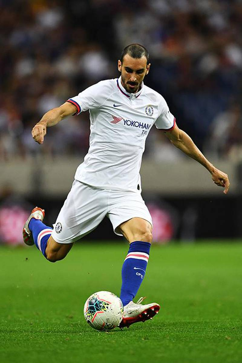 Chelsea's defender Davide Zappacosta passes the ball during a football friendly match between Spanish Liga team Barcelona and English Premier League club Chelsea in Saitama on July 23, 2019. (Photo by CHARLY TRIBALLEAU / AFP)