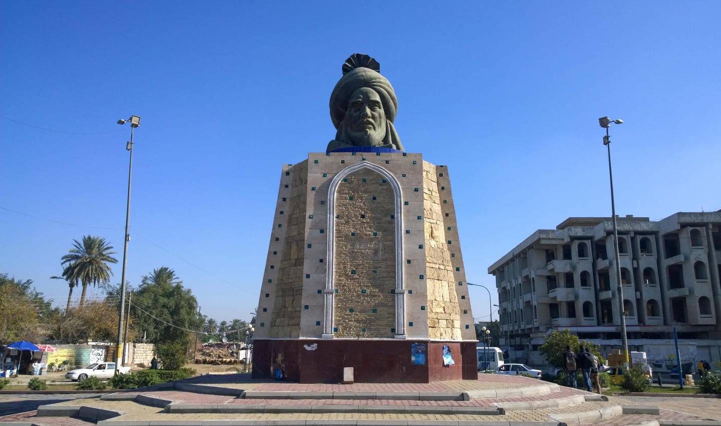 MGRFWP Statue of the Abbasid caliph Abu Jaafar Al Mansour Builder and founder of the city of Baghdad, This statue is located  In the Mansour district. Alamy