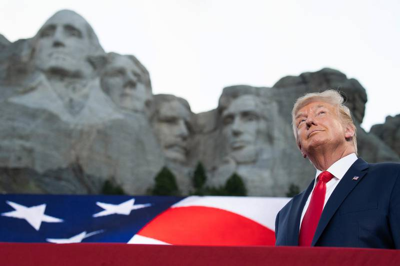 AFP presents a retrospective photo package of 60 pictures marking the 4-year presidency of President Trump.  US President Donald Trump arrives for the Independence Day events at Mount Rushmore National Memorial in Keystone, South Dakota, July 3, 2020. (Photo by SAUL LOEB / AFP)