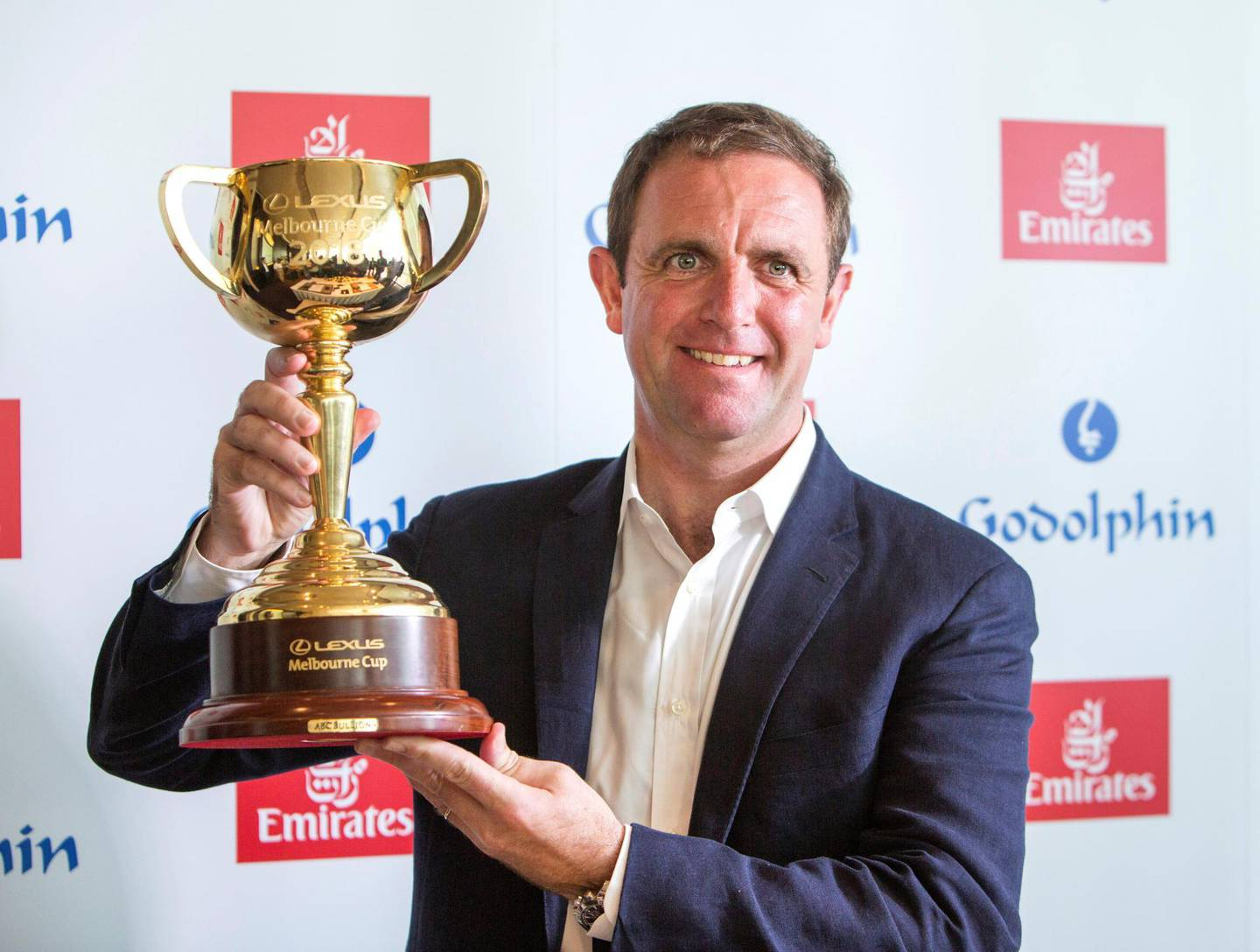 DUBAI, UNITED ARAB EMIRATES - Goldolphin trainerCharlie Appleby who saddled the Melbourne Cup winner Cross Counter at his press conference at Emirates Tower, Dubai.  Leslie Pableo for The National for Amith Pasella���s story