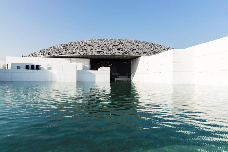 Abu Dhabi, United Arab Emirates, November 6, 2017:    General view of the Louvre Abu Dhabi during the media tour ahead of opening day on Saadiyat Island in Abu Dhabi on November 6, 2017. The Louvre Abu Dhabi will open November 11th. Christopher Pike / The NationalReporter: Mina AldroubiSection: News