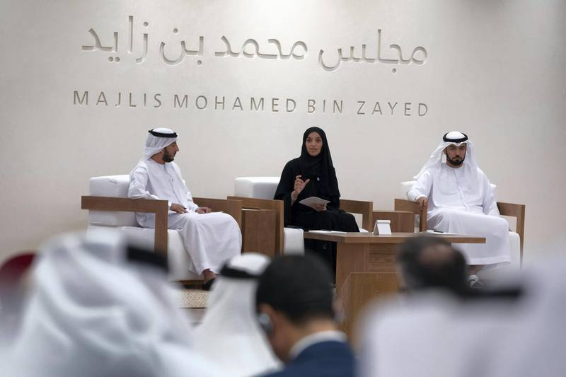 """ABU DHABI, UNITED ARAB EMIRATES - May 15, 2019:  Maria Al Hatali (C) and Abdulrahman Al Shamsi (R) and, host a panel discussion titled: """"The Manipulation of Religious texts by Extremists"""", at Majlis Mohamed bin Zayed.   ( Hamad Al Mansouri for the Ministry of Presidential Affairs ) ---"""