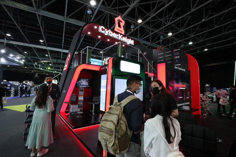 People visit the Cyber Knight stand at GISEC at the World Trade Centre in Dubai on May 31st, 2021. Chris Whiteoak / The National.  Reporter: Kelly Clark for News