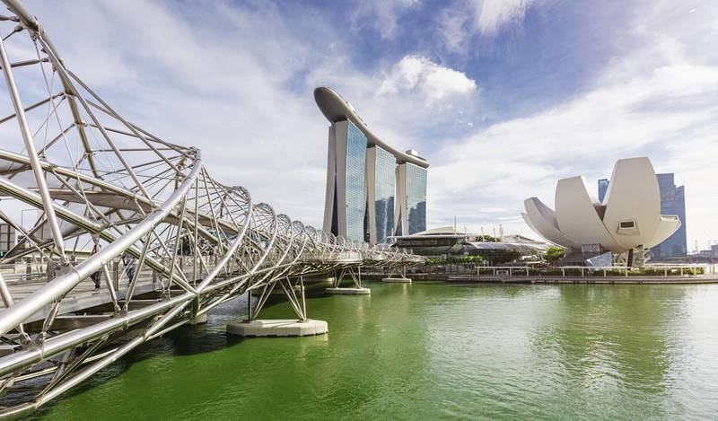 Panoramic view of Marina Bay Area Cityscape with Marina Sands Hotel (small in the middle) and  the ArtScience Museum of Singapore on the right side. Part of the the pedestrian helix bridge, a structure of glass and stainless steel on the left side of the panorama.