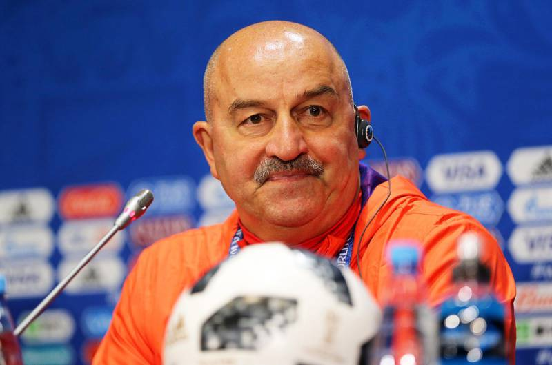 epa06804426 Russia's head coach Stanislav Cherchesov attends a press conference in Moscow, Russia, 13 June 2018. Russia will face Saudi Arabia in the opening match of the FIFA World Cup 2018, the group A preliminary round soccer match on 14 June 2018.  EPA/ABEDIN TAHERKENAREH