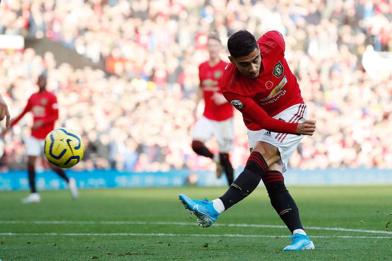 """Manchester United's Andreas Pereira scores his side's first goal of the game during the Premier League match at Old Trafford, Manchester. PA Photo. Picture date: Sunday November 10, 2019. See PA story SOCCER Man Utd. Photo credit should read: Martin Rickett/PA Wire. RESTRICTIONS: EDITORIAL USE ONLY No use with unauthorised audio, video, data, fixture lists, club/league logos or """"live"""" services. Online in-match use limited to 120 images, no video emulation. No use in betting, games or single club/league/player publications."""