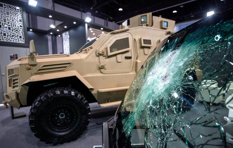 Abu Dhabi, United Arab Emirates, February 24, 2021.  Idex 2021 Day 4. The Guardian XTREME MRAP by IAG- International Armored Group. Fully certified to STANAG-4569 level II (Ballistic and Blast Certification.Victor Besa / The NationalSection:  NA