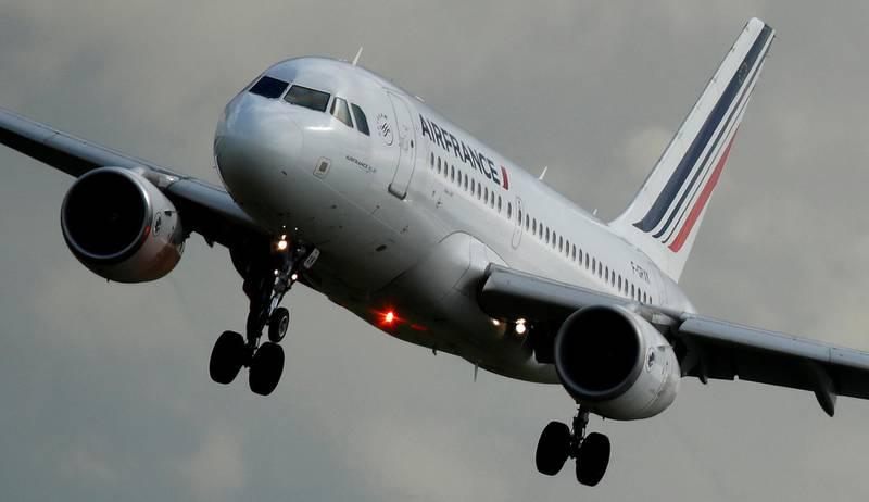 FILE PHOTO: An Air France Airbus A319-111 airplane prepares to land at the Charles de Gaulle Airport in Roissy, near Paris, France, April 28, 2018. REUTERS/Christian Hartmann - RC13505B8B30/File Photo